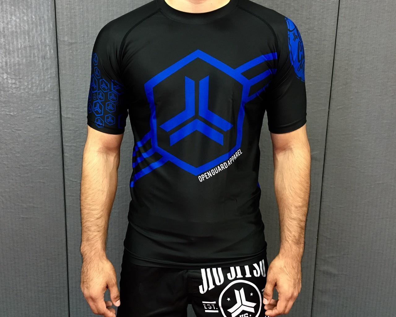 Hex Flow Short Sleeve Ranked BJJ Rashguard (Blue Belt)