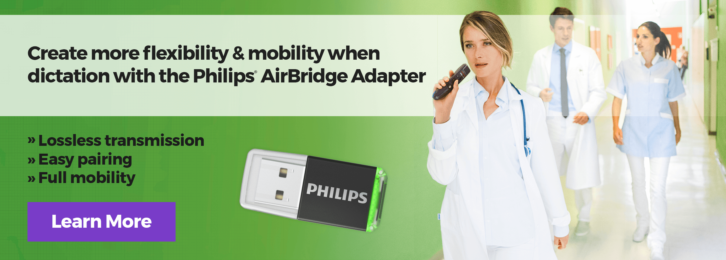 Create more flexibility & mobility when dictation with the Philips® AirBridge Adapter