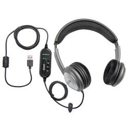 ECS OHUSB WordSlinger Deluxe Overhead USB Transcription Headset - New