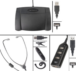 Infinity IN-USB-2 USB Foot Pedal with AL-60 USB Headset and 4 Port USB Hub - New