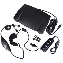 Infinity IN-USB-2 USB Foot Pedal with ECS-NRIEUSB Headset and USB Hub