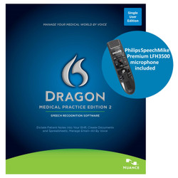 Nuance® Dragon® Medical Practice Edition 2 with Philips SpeechMike Premium LFH3500