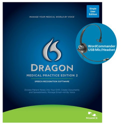 Nuance® Dragon® Medical Practice Edition 2 with Deluxe WordCommander USB Voice Recognition Mic Headset
