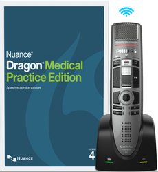 Nuance® Dragon® Medical Practice Edition 4 with Philips SMP4010 Wireless Dictation Microphone