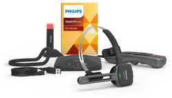 Philips SpeechOne Wireless Dictation Headset, Docking Station, Status Light, Remote Control and SpeechExec Pro Dictate Dictation Software 2 Year Subscription