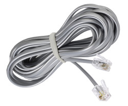 ECS 7 Foot 4 Wire RJ11 Silver Telephone Cable -  New