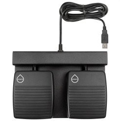 ECS-DRAGON-FP-T-2B-W Two Button Hands Free Waterproof Foot Pedal for Dragon® Press and Release Record