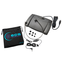 Infinity IN-USB-2 USB Foot Pedal with WordSleuth WSUC3.5-A Under-chin In-Ear 3.5 mm Transcription Headset