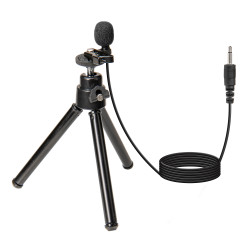 WordTieClip 3.5 mm Omni-Directional Mono Microphone with 3' Cable & Tripod