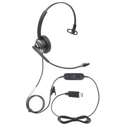 Professional WordCommander Voice to Text USB C Voice Recognition Headset with Noise Cancelling Boom Microphone