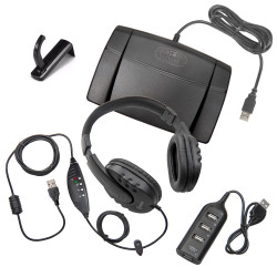 Infinity-3 USB Foot Pedal with Overhead OHWMUSB Headset, Headphone Hook Holder Hanger and USB Hub