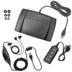 Infinity-3 USB Foot Pedal with ECS-NRIEUSB Headset and USB Hub