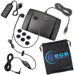 Infinity-3 USB Foot Pedal and WHUC3.5-A Antimicrobial Stereo Headset and USB Hub