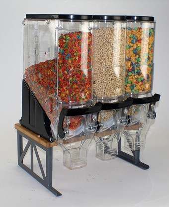 """Cereal Bamboo/Steel Stand with 6x18"""" Bins (cereal not included)"""