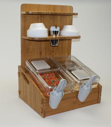 Bamboo Breakfast Bin Stand for (2) NL1062 Scoop Bins