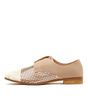 JACCA Flats in White/Rose Gold/Multi Leather