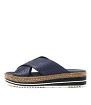 ADEEMUS Flatform Sandals in Navy Metallic Leather