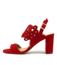 TEXAN Heeled Sandals in Red Suede