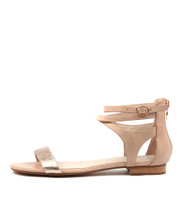 PLEASE Sandals in Rose Gold / Nude Leather