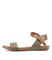 JINNIT Sandals in Olive/ Tan Leather