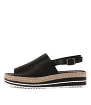 ADIDAH Flatform Sandals in Black Leather