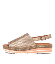 ADIDAH Flatform Sandals in Rose Gold Leather