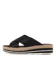 ADEEMUS Flatform Sandals in Black Leather