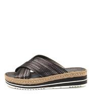 ADEEMUS Flatform Sandals in Pewter/ Black Leather
