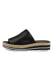 ACCENT Flatform Sandals in Black Leather