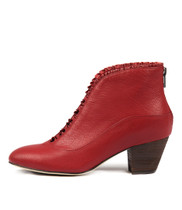 HEMERA Ankle Boots in Dark Red Leather