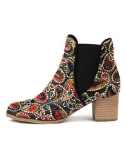 SADORE Ankle Boots in Gold Boho Fabric