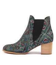 SADORE Ankle Boots in Black Aztec Leather