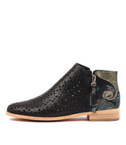 ALEX Ankle Boots in Navy/ Paisley Leather