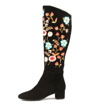 JONTONAR Knee High Boots in Black Embroidered Suede