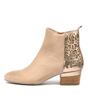 GIRLL Ankle Boots in Nude/ Rose Gold Leather