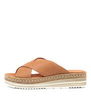 ADEEMUS Flatform Sandals in Tan Embossed Leather