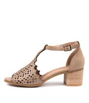 DRESSIE Heeled Sandals in Latte Leather