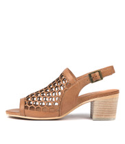 BIKKIS Heeled Sandals in Dark Tan Leather