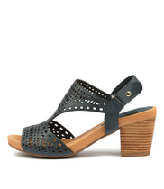 ZOLLIE Heeled Sandals in Navy Leather