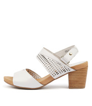 ZELLA Heeled Sandals in White Leather