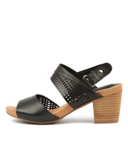 ZELLA Heeled Sandals in Black Leather