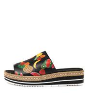 APPLETINI Flatform Sandals in Black Fruit Salad Leather