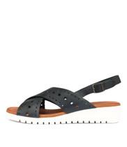 MELIZA Flatform Sandals in Navy Leather