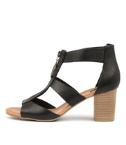 SARITAS Heeled Sandals in Black Leather