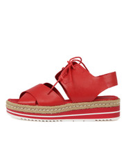 AVIE Flatform Sandals in Red Leather
