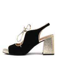 ROLAND Heeled Sandals in Black Suede/ Gold Leather