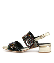 TANDYS Heeled Sandals in Black Suede/ Pale Gold Leather