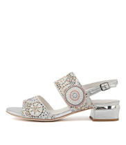 TANDYS Heeled Sandals in White Suede/ Silver Leather