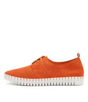 HALBERT Lace-up Sneakers in Orange Suede