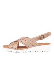 MELIZA Flatform Sandals in Nude Leather